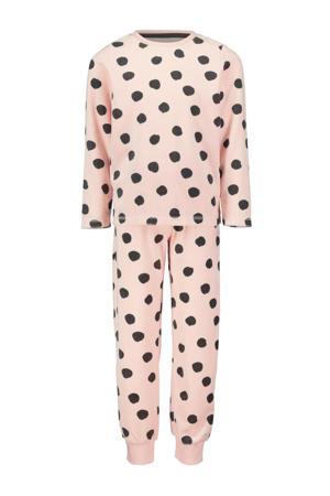 fluwelen pyjama met stippen dessin roze/grijs