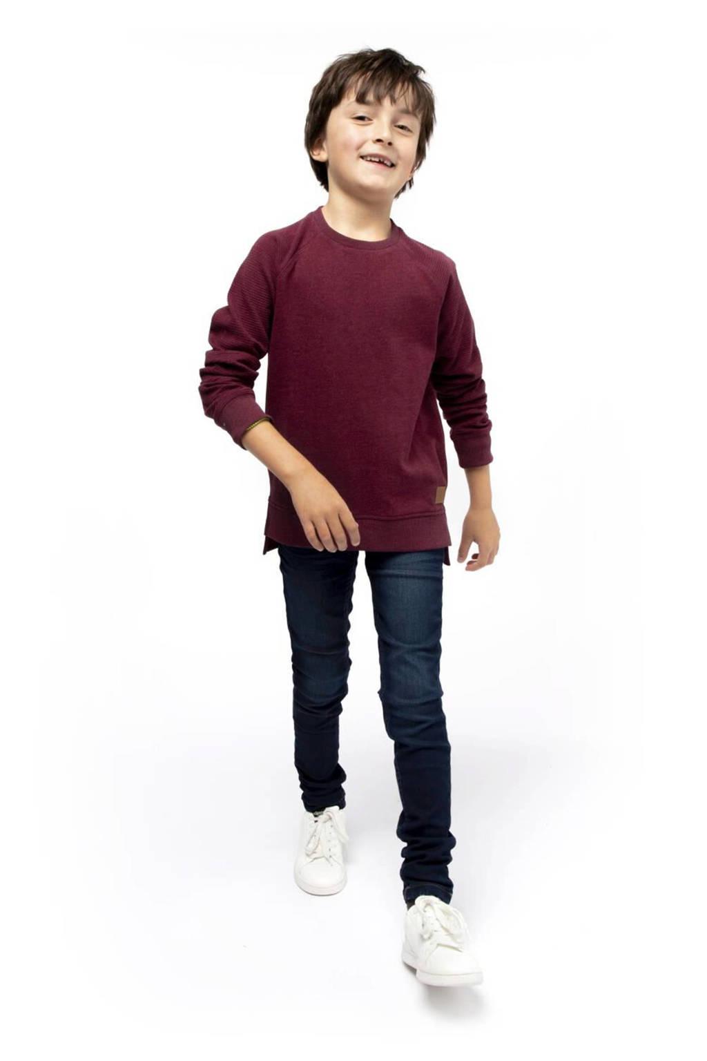 HEMA sweater Stef met textuur donkerrood, Donkerrood