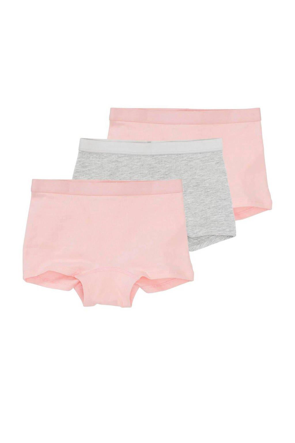 HEMA short - set van 3 roze/grijs, Lichtroze