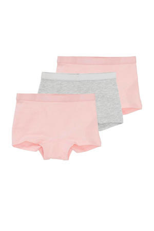 short - set van 3 roze/grijs