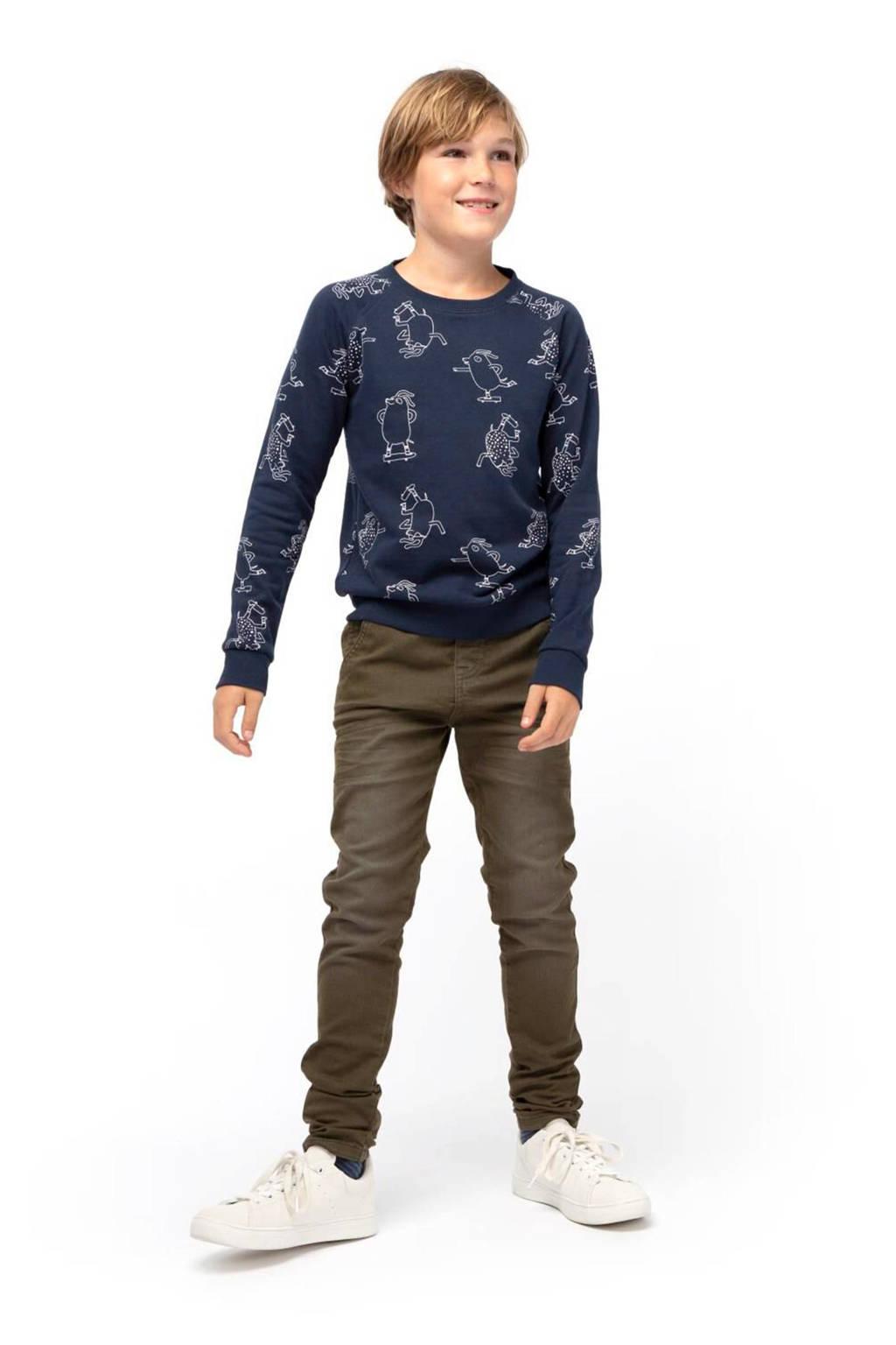 HEMA sweater Sven met all over print donkerblauw, Donkerblauw