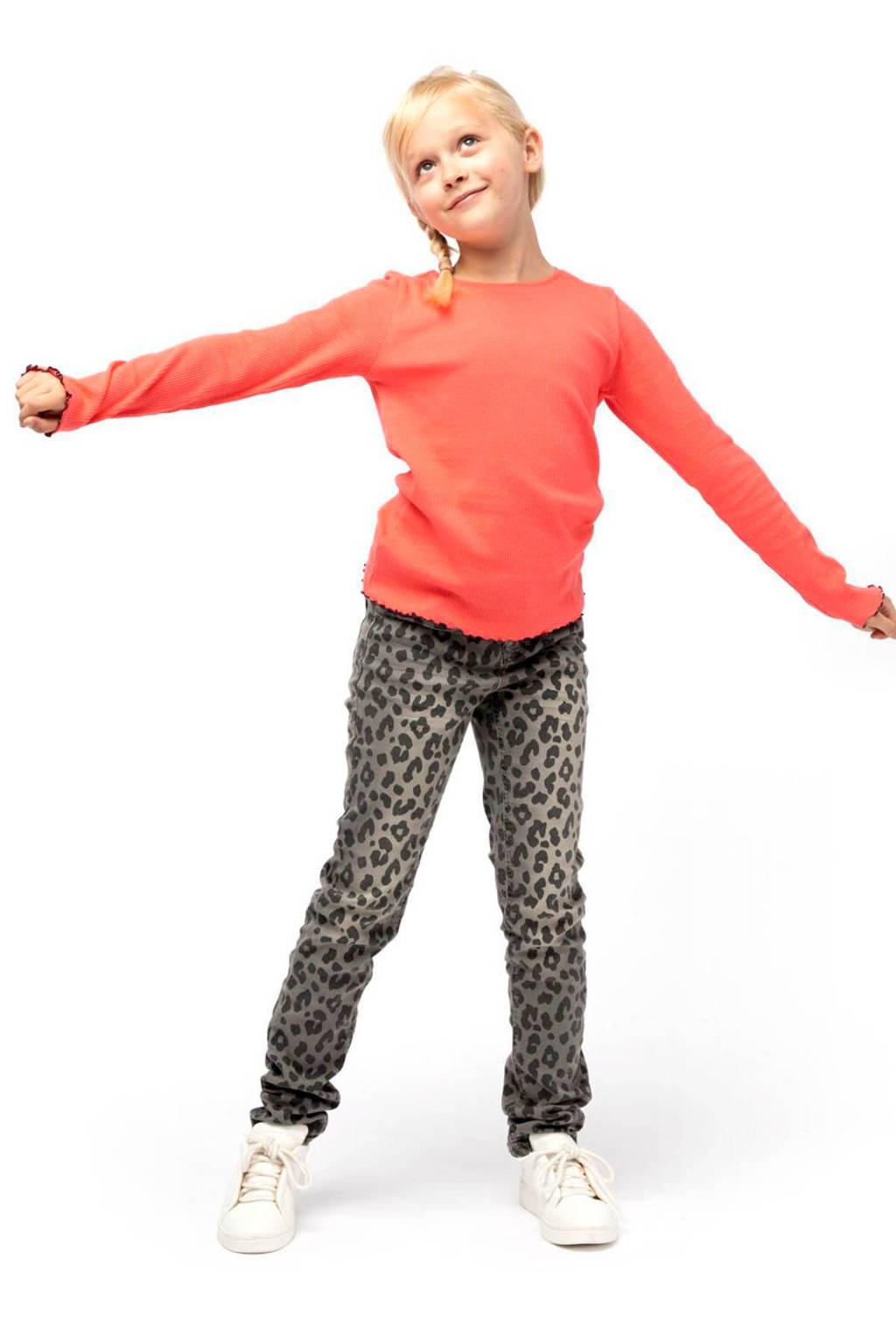 HEMA skinny broek met panterprint grijs/zwart, Grijs/zwart