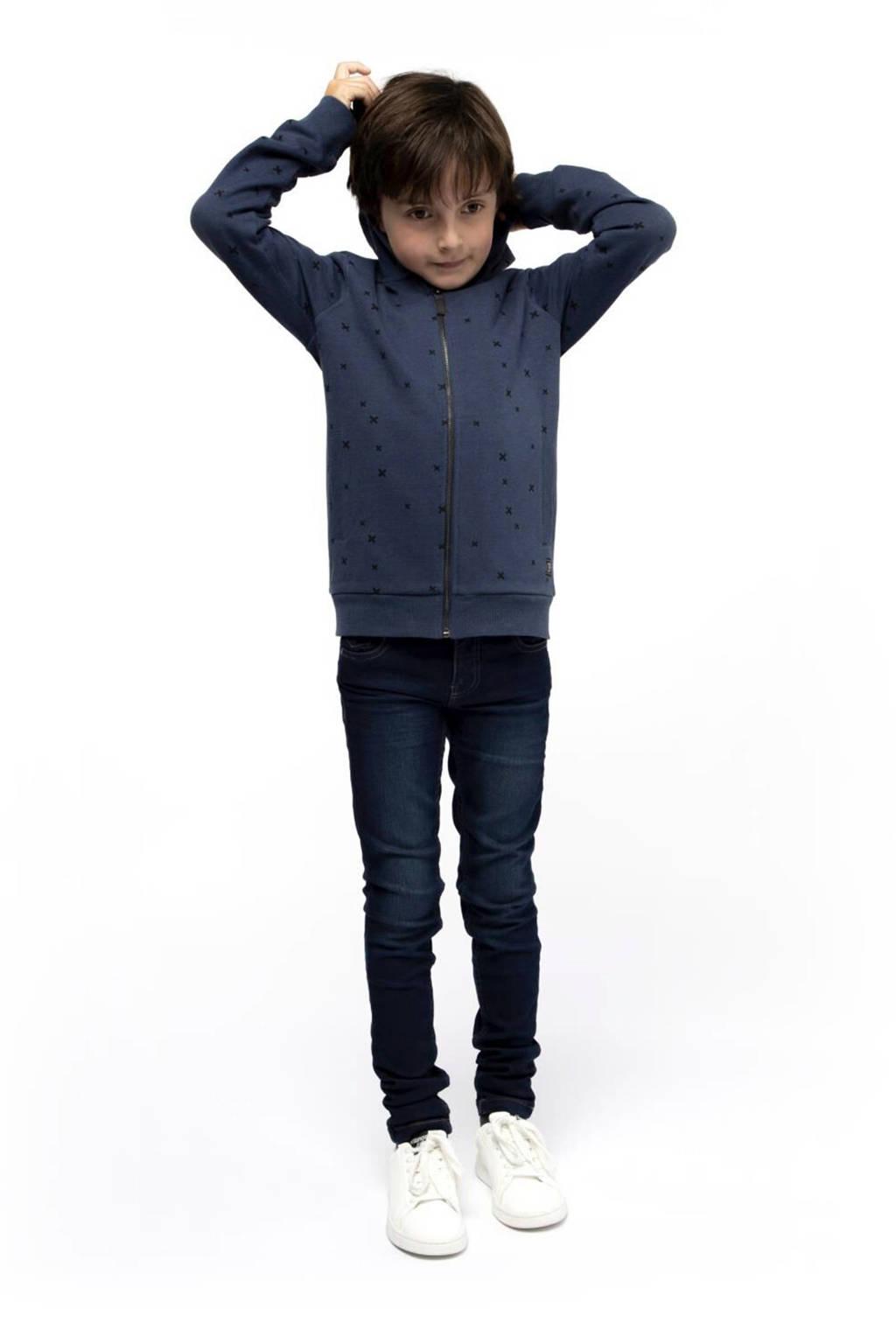 HEMA vest Roy met all over print donkerblauw/zwart, Donkerblauw/zwart