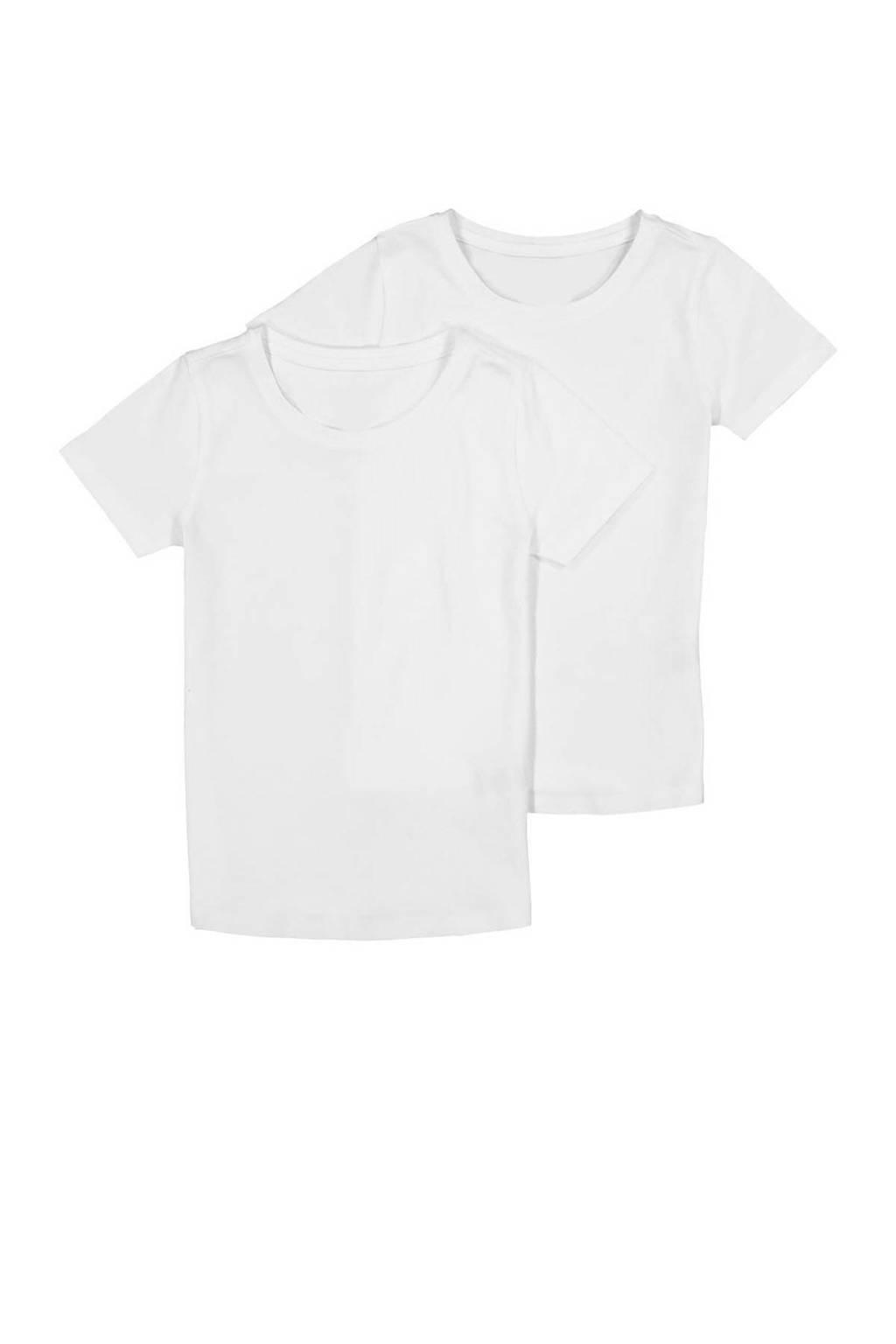 HEMA basic T-shirt - set van 2 met biologisch katoen wit, Wit