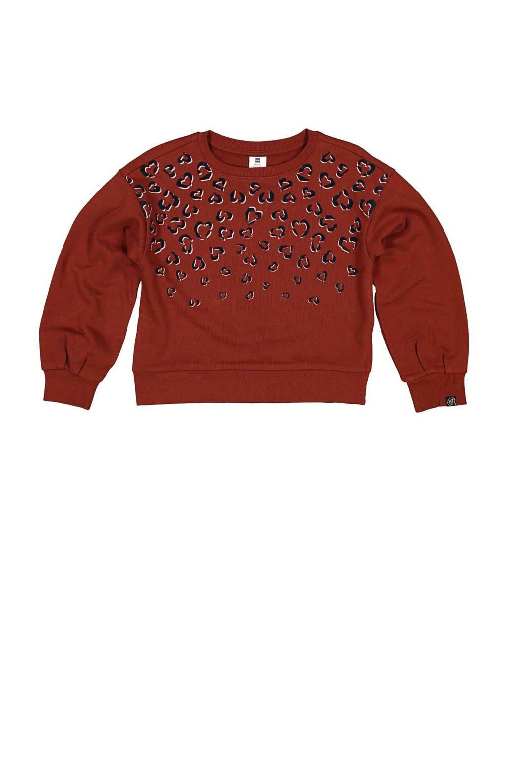 HEMA sweater Scarlett met panterprint bruin, Bruin