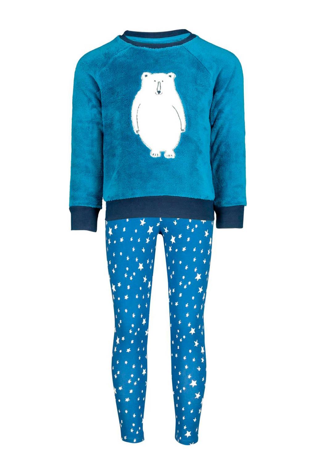 HEMA   pyjama met print blauw/wit, Blauw/wit/donkerblauw