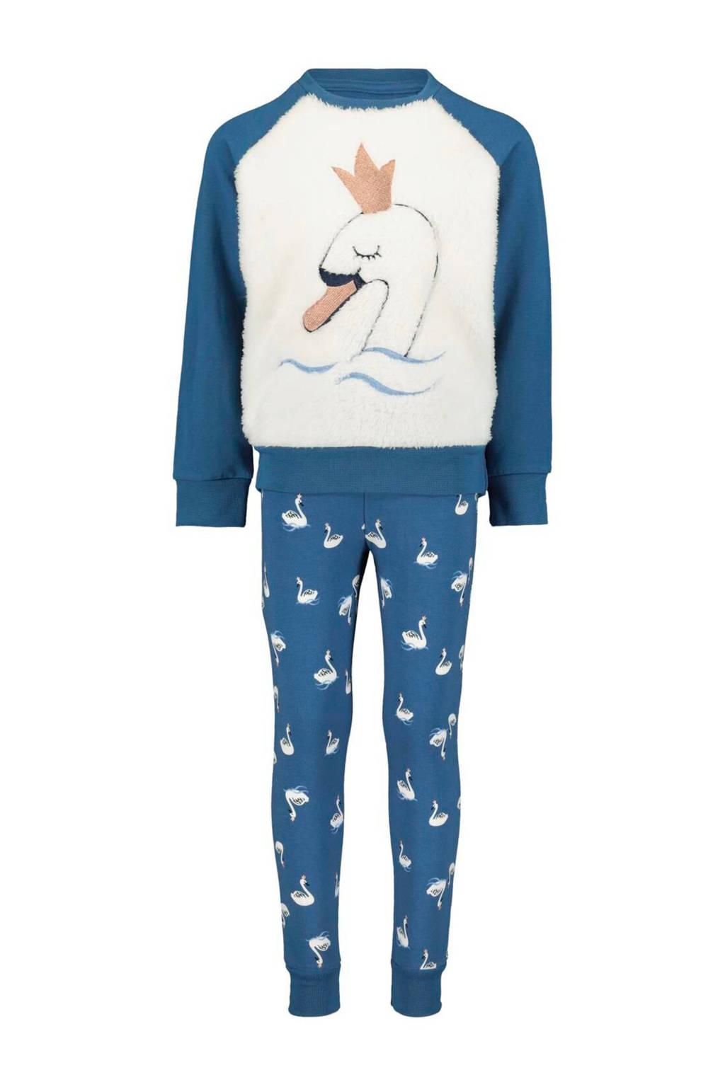 HEMA pyjama met teddy voorkant met zwaan blauw/wi, Blauw