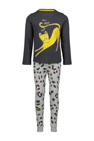 pyjama met panterprint grijs
