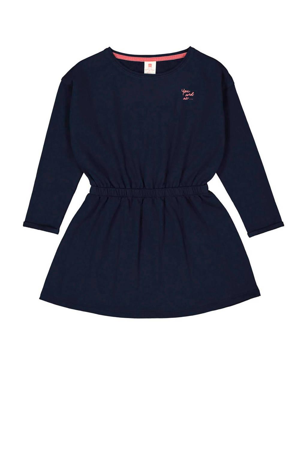 HEMA jersey jurk Dieuwertje met tekst donkerblauw, Donkerblauw