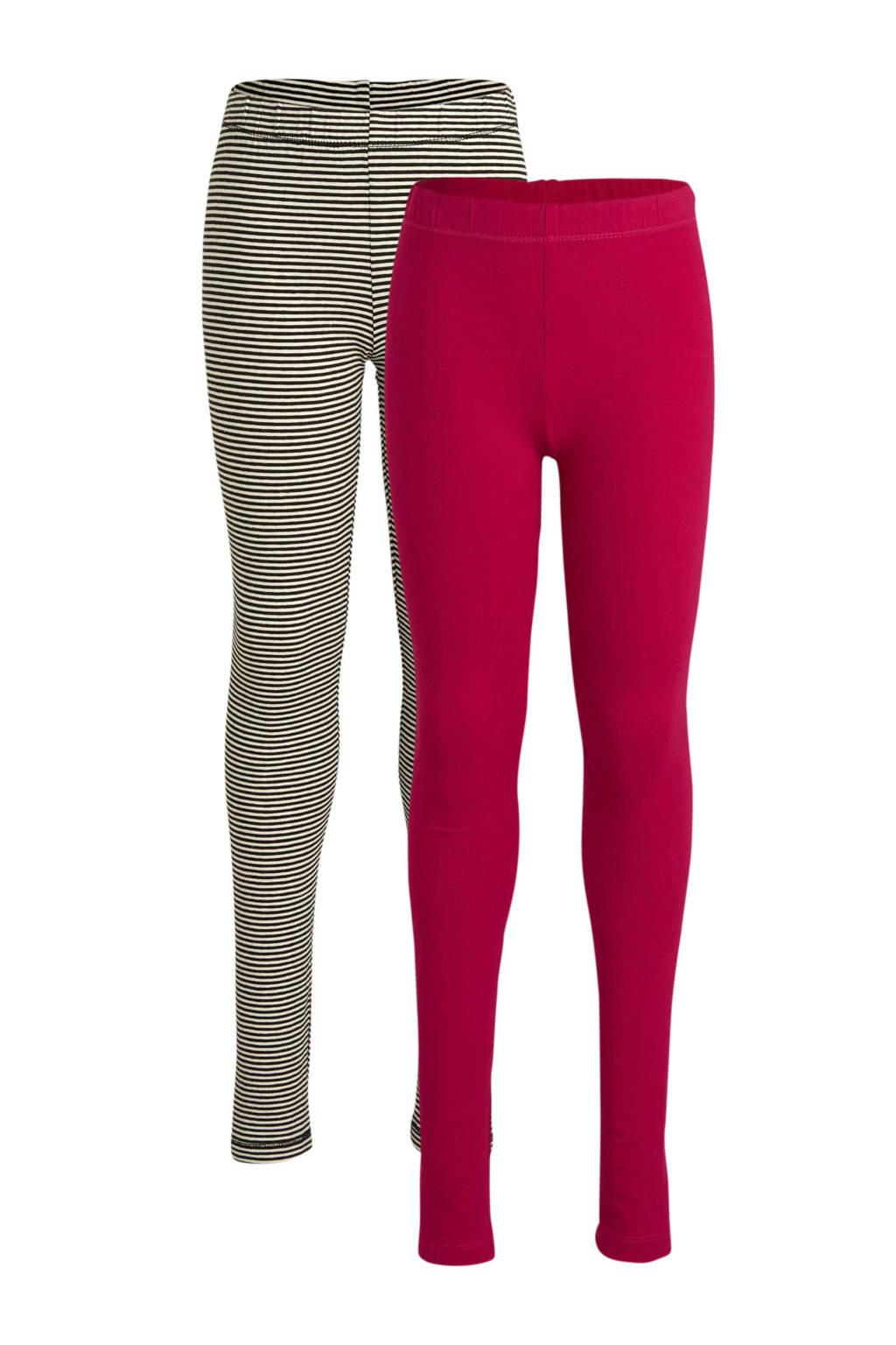 HEMA leggings roze/wit/zwart - set van 2, Roze/wit/zwart