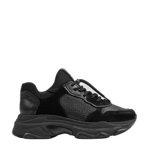 Bronx Baisley leren chunky sneakers zwart