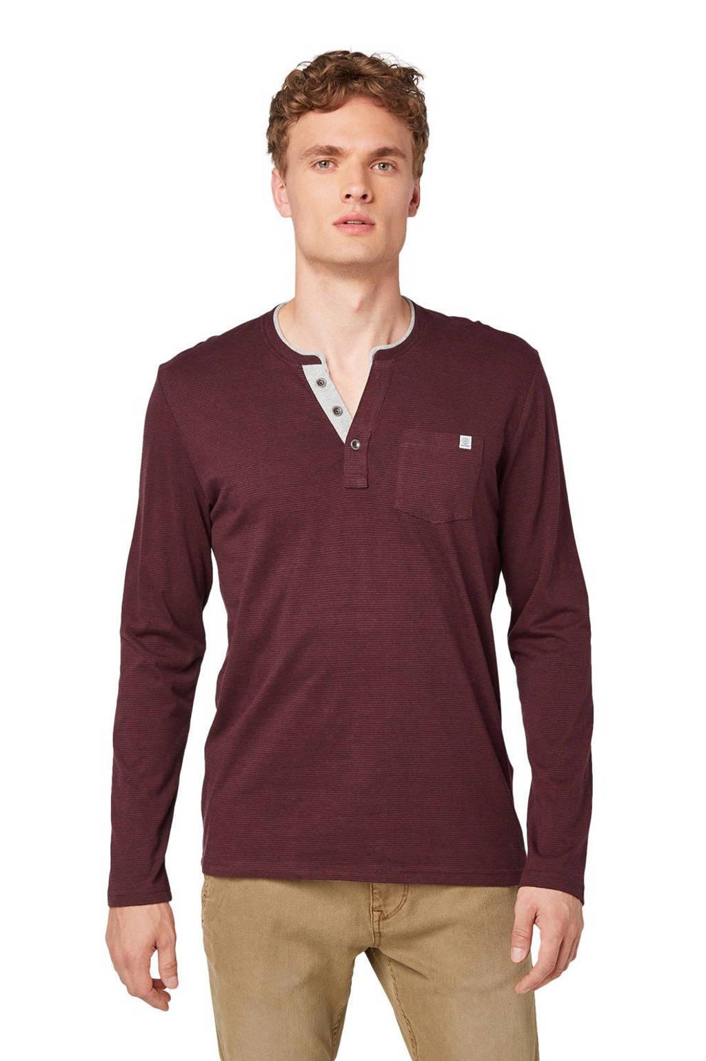 Tom Tailor gestreept T-shirt donkerrood, Donkerrood