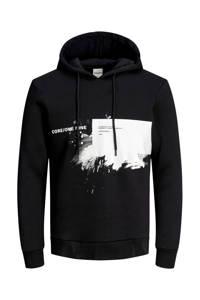 JACK & JONES CORE hoodie met printopdruk zwart/wit, Zwart/wit