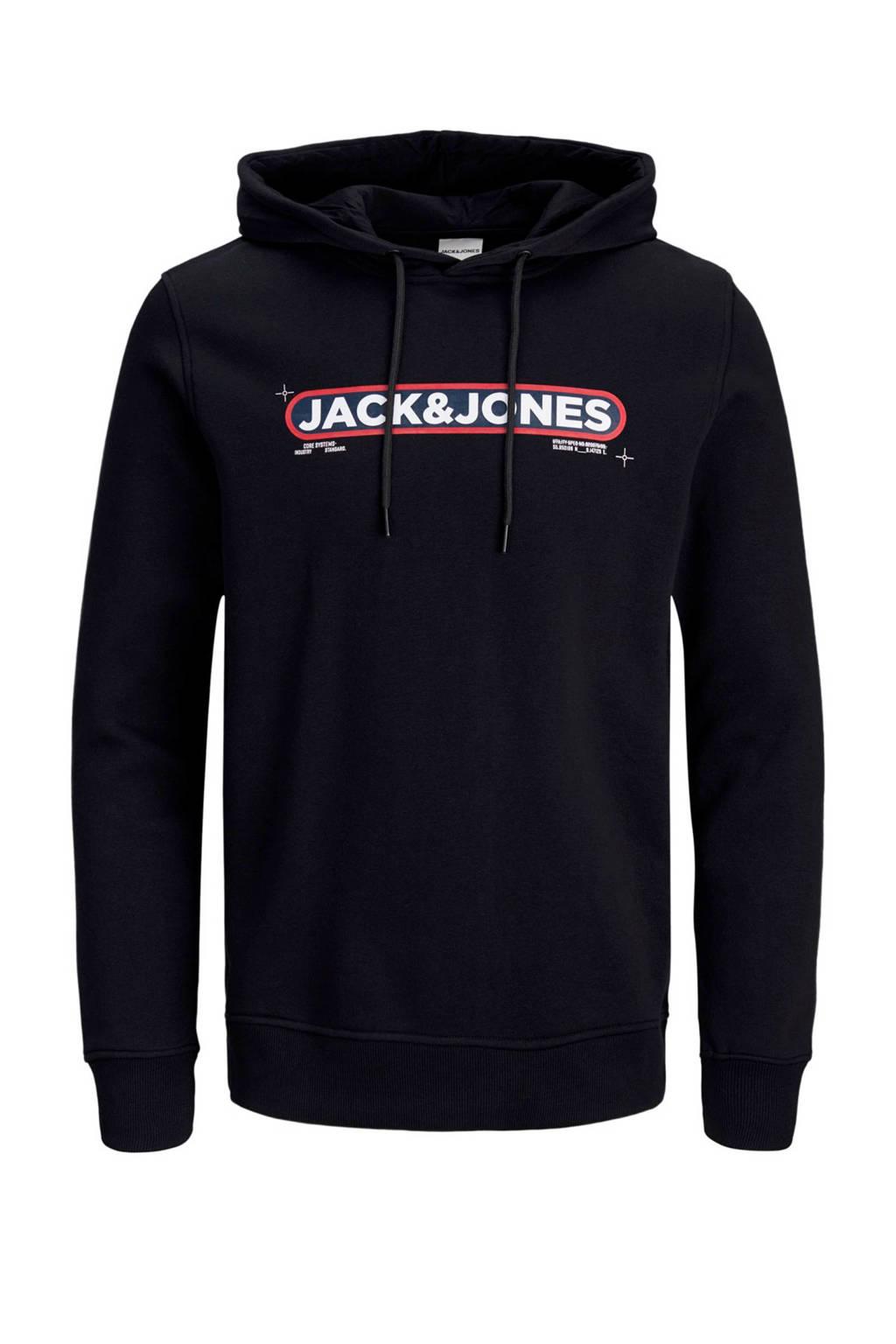 JACK & JONES CORE hoodie met tekst zwart, Zwart