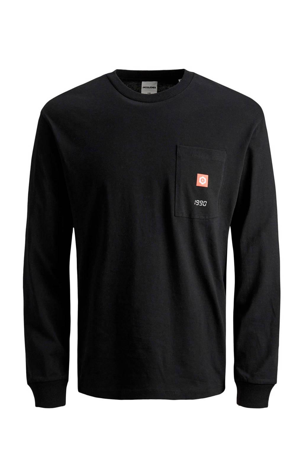 JACK & JONES CORE T-shirt met tekst zwart/wit, Zwart/wit