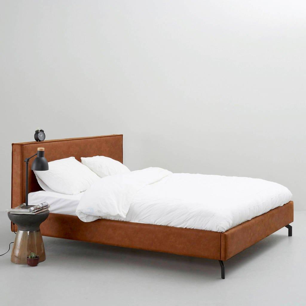 wehkamp home eco-leren bed Detroit  (180x210 cm), Camel