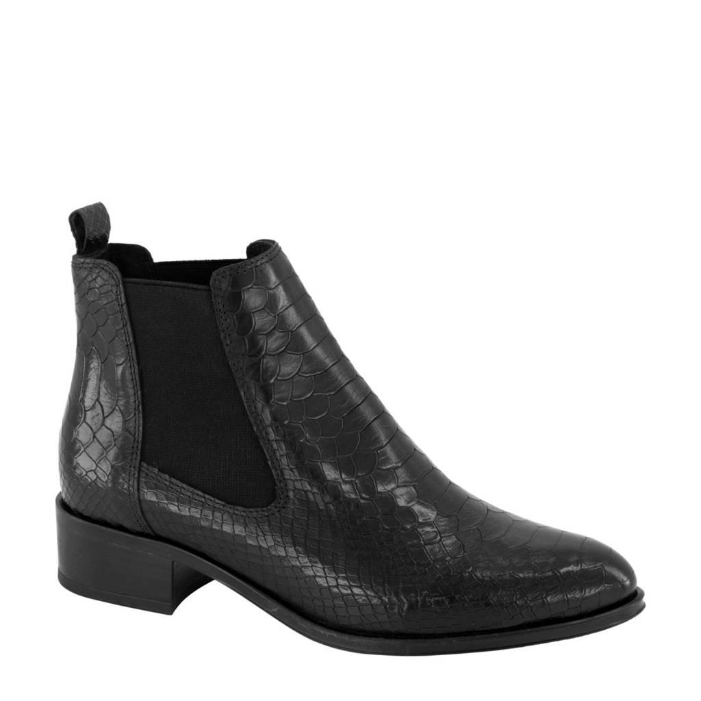 5th Avenue   leren chelsea boots slangenprint zwart, Zwart