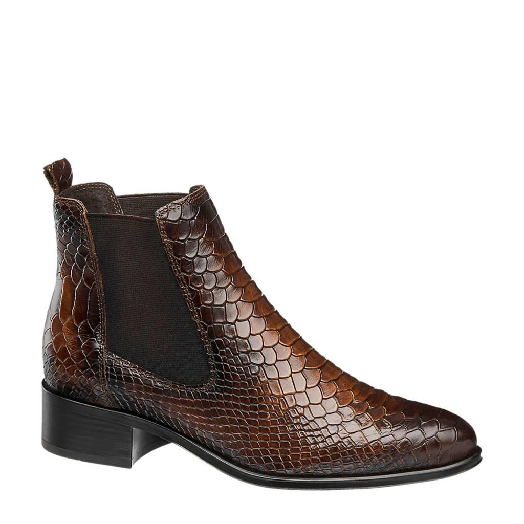 5th Avenue   leren chelsea boots slangenprint bruin, Bruin