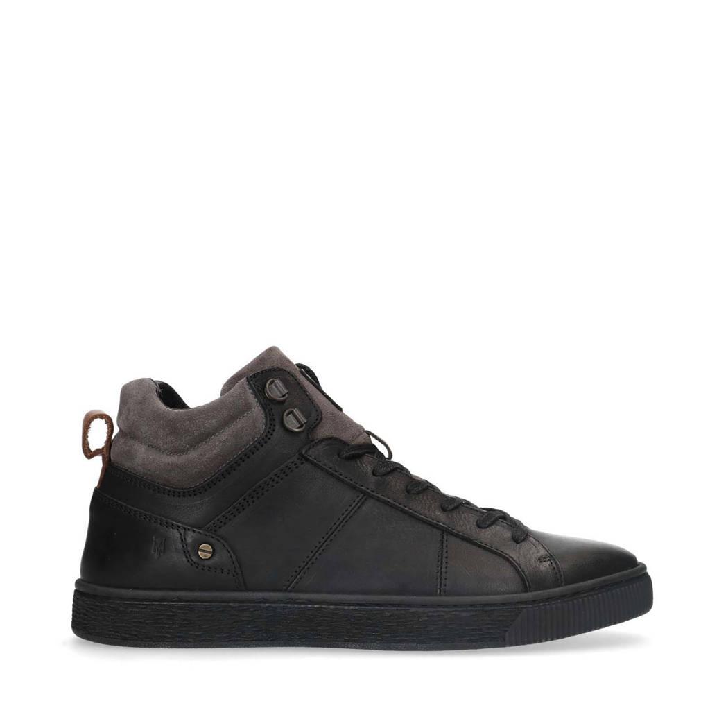 Manfield   leren sneakers zwart/bruin, Zwart/bruin