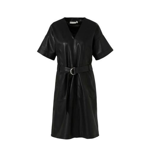 Inwear leren jurk RouxIW met ceintuur zwart