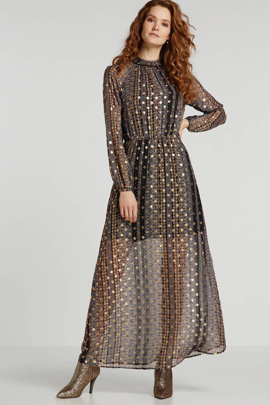 anytime maxi jurk met all-over print met goud, Zwart/camel/rood/ecru/goud