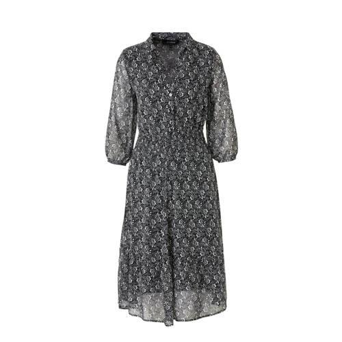 anytime jurk met bloemenprint zwart/wit