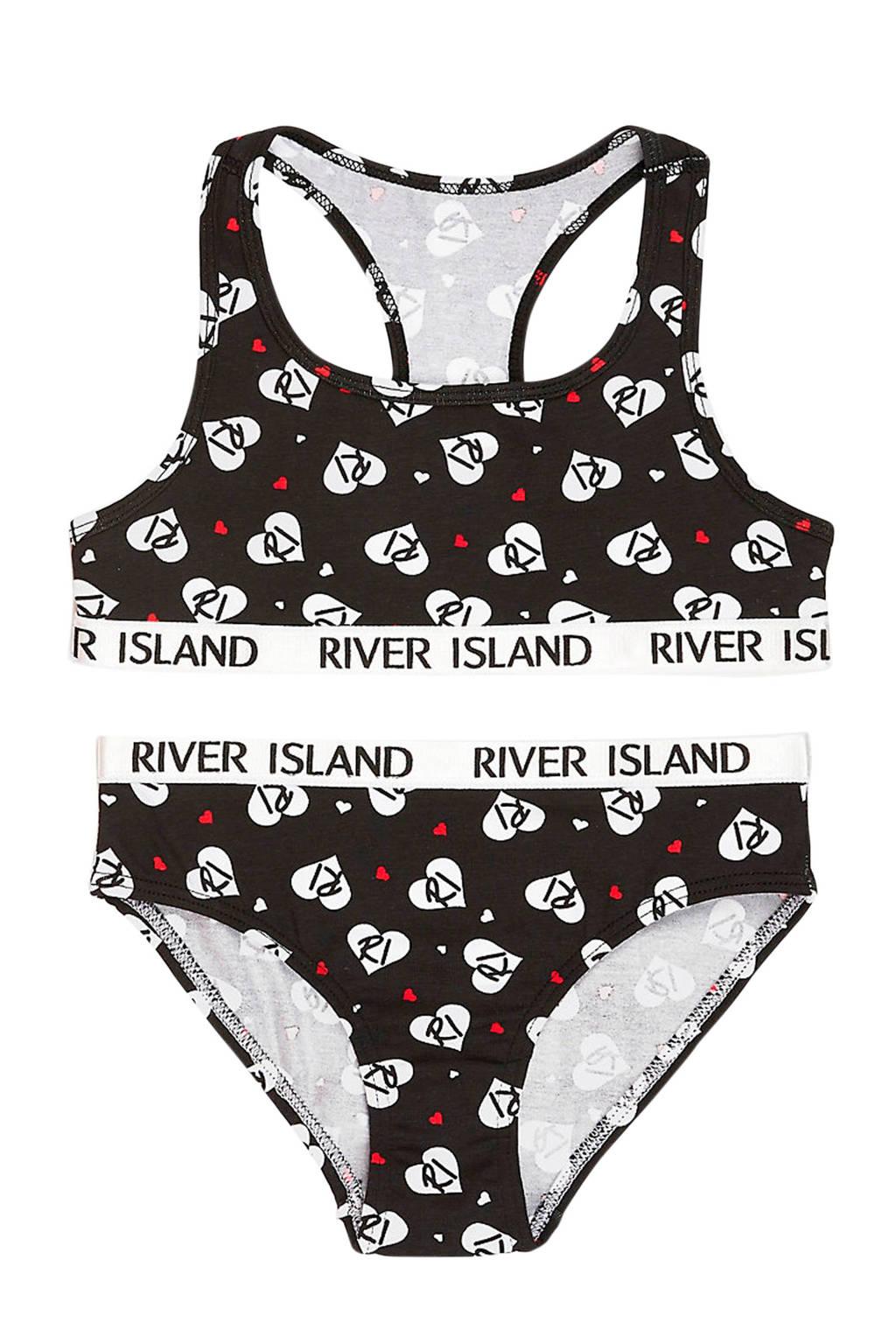 River Island bh top + slip met all over print zwart/wit/rood, Zwart/wit/rood