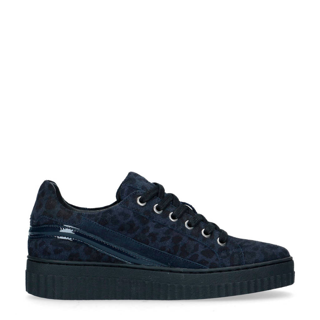 Manfield   suède sneakers donkerblauw, Donkerblauw