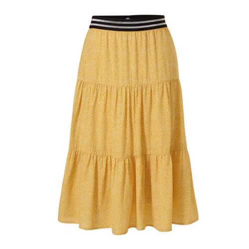 anytime gelaagde rok met stippenprint geel