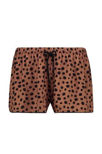 Casual pyjamashort met all over print bruin
