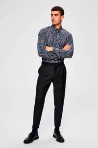 SELECTED HOMME slim fit overhemd met all over print blauw/roze, Blauw/roze