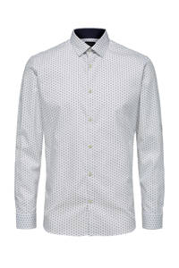 SELECTED HOMME slim fit overhemd met all over print wit/blauw, Wit/blauw