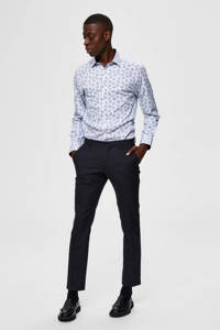 SELECTED HOMME slim fit overhemd met all over print blauw/wit, Blauw/wit