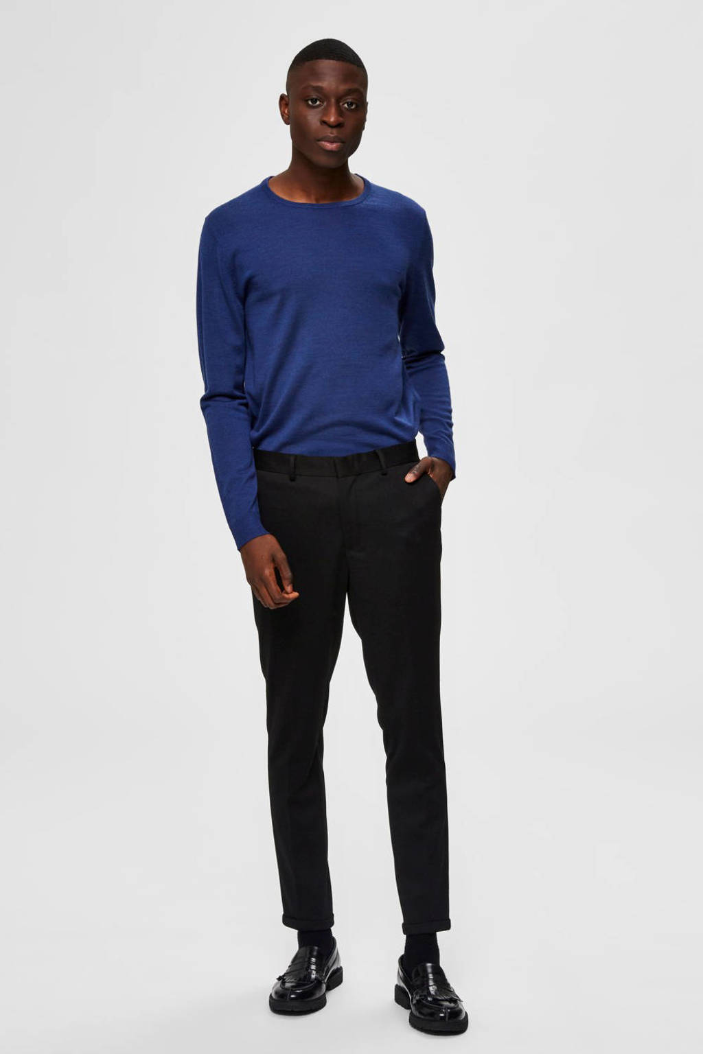 SELECTED HOMME wollen trui donkerblauw, Donkerblauw
