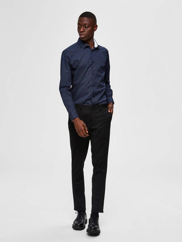 SELECTED HOMME slim fit overhemd met all over print marine, Marine