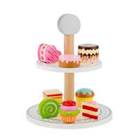 New Classic Toys houten Etagère met cakejes, Multi color