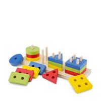 New Classic Toys Geometrische vormen puzzel houten vormenpuzzel 16 stukjes, Multi color