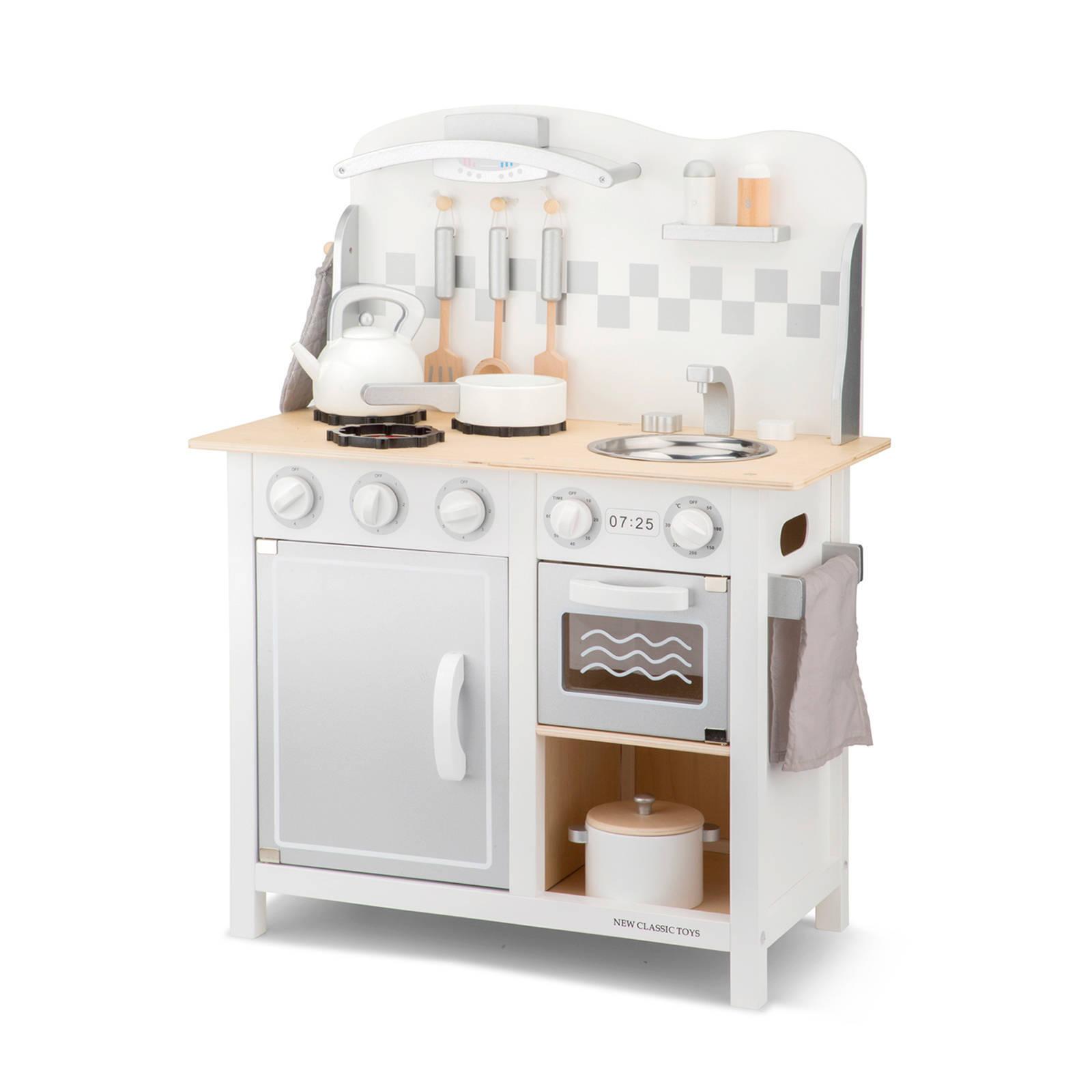 New Classic Toys houten Kinderkeuken Bon Appetit DeLuxe Wit/Zilver online kopen