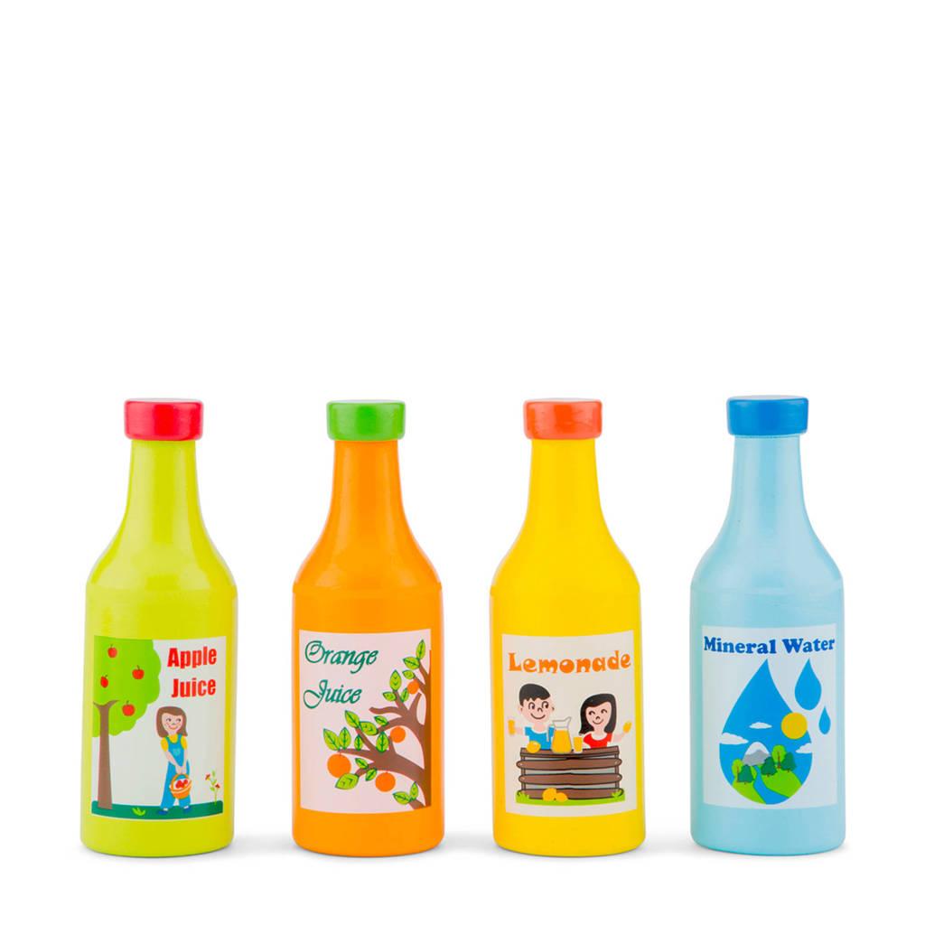 New Classic Toys houten Set van 4 flesjes drinken