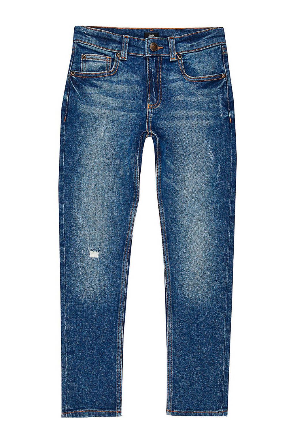 River Island skinny jeans met slijtage donkerblauw, Donkerblauw