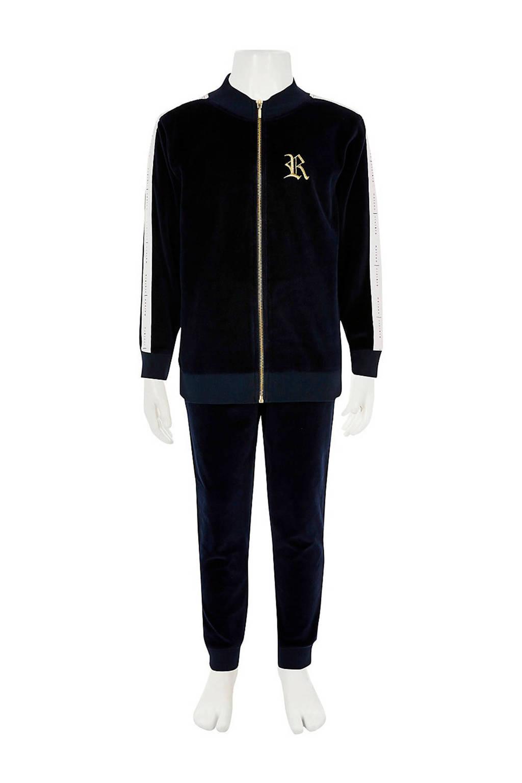 River Island fluwelen broek + vest mt contrastbies donkerblauw, donkerblauw/wit/goud