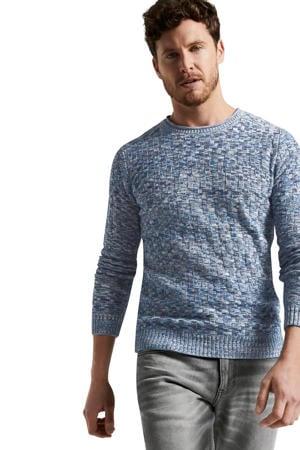 gemêleerde trui blauw/grijs