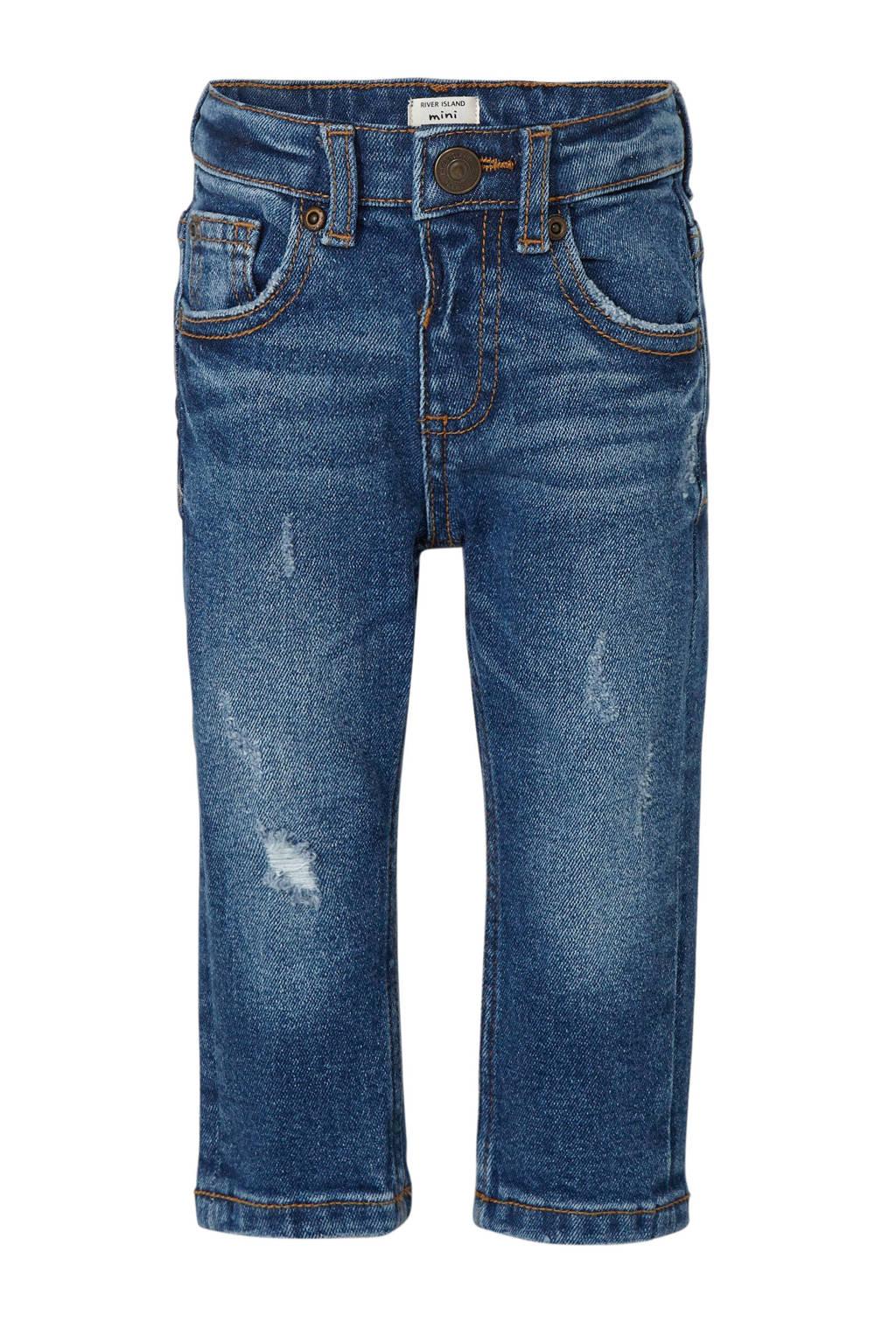 River Island skinny jeans met slijtage light denim, Light denim