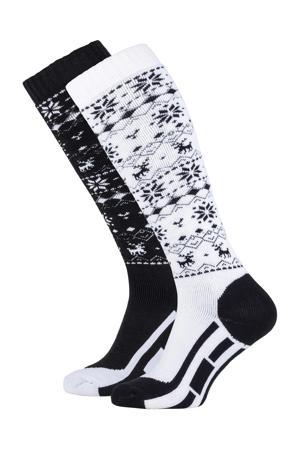 skisokken zwart/wit (set van 2)