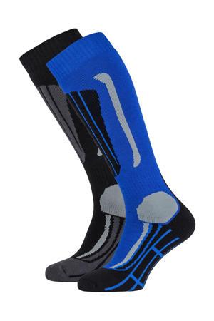 skisokken blauw/zwart (set van 2)