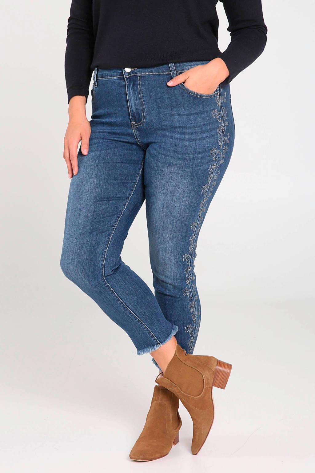 Paprika slim fit jeans met borduursels denim, Denim