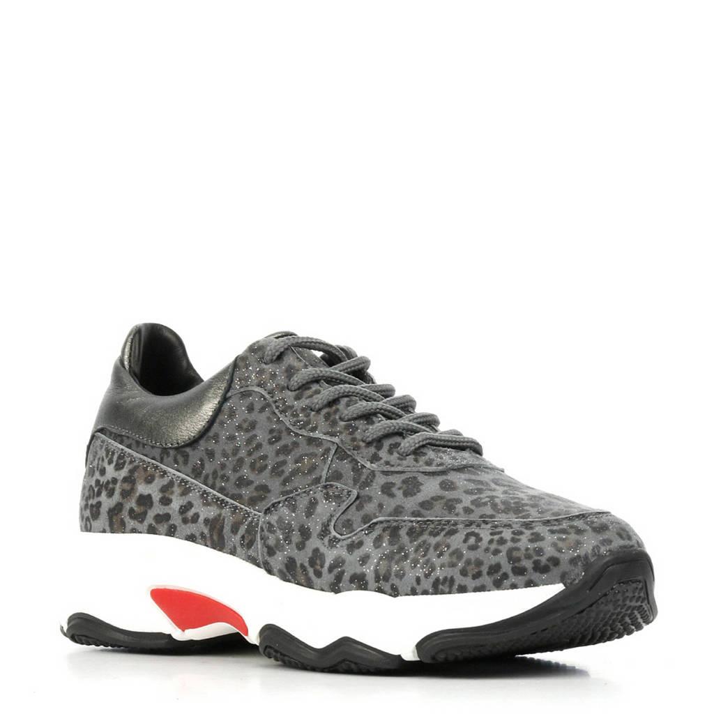 Hip  H1748 leren sneakers met panterprint grijs, Grijs/zwart