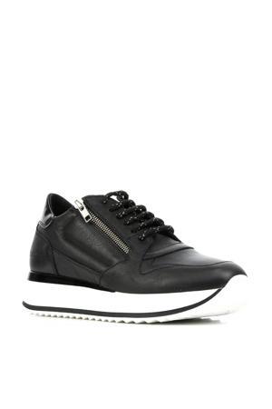 76646 leren plateau sneakers zwart