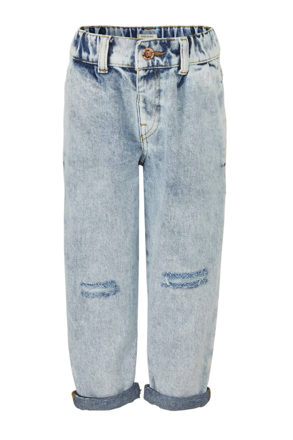 River Island regular fit jeans met slijtage light denim, Light denim