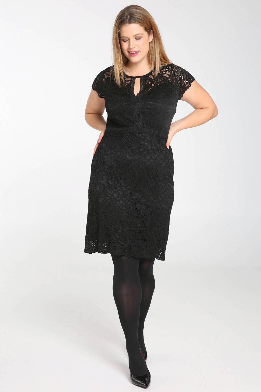 Paprika kanten jurk zwart, Zwart
